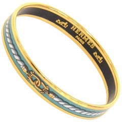 Hermes Cyan x Gold Tone Enamel PM Bracelet Bangle