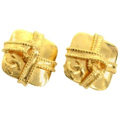 Chanel Gold Tone CC Logo Square Shaped Earrings