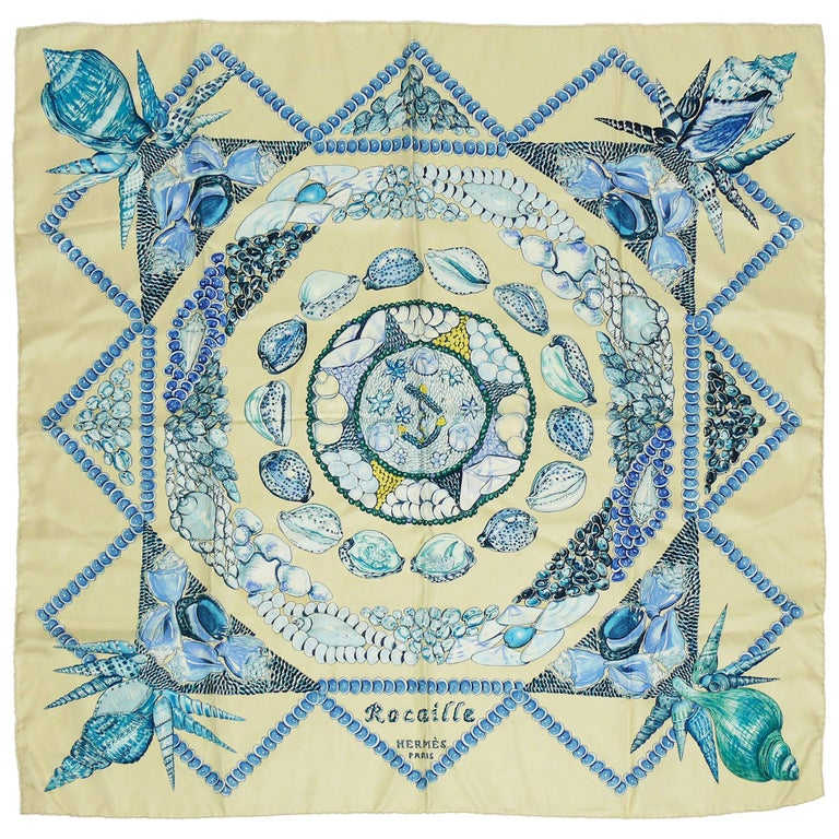 "Hermes Silk Carre Scarf ""Rocaille"" by Valerie Dawlat-Dumoulin For Sale"