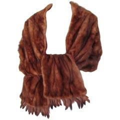 vintage fringed mink fur stole