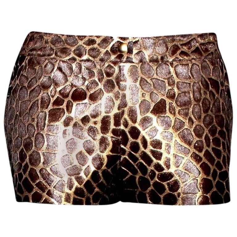 Chanel Metallic Leather and Fur Animal Print Safari Hot Pants Shorts For Sale