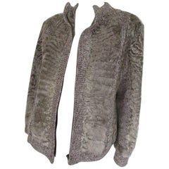 Knitted Jacket with Persian Lamb Fur