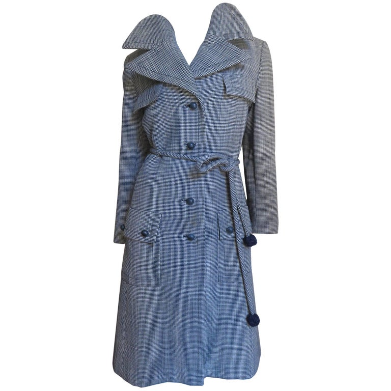 1960s Yves St Laurent for Christian Dior Houndstooth Wool Coat