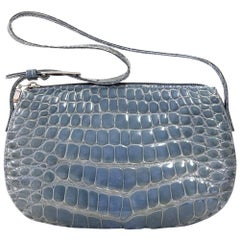 2000s Dotti Baby Blue Crocodile Leather Purse