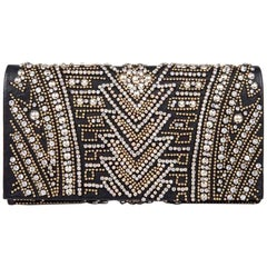 BALMAIN Clutch in Crumpled Leather, Studded in Golden Color and Rhinestones
