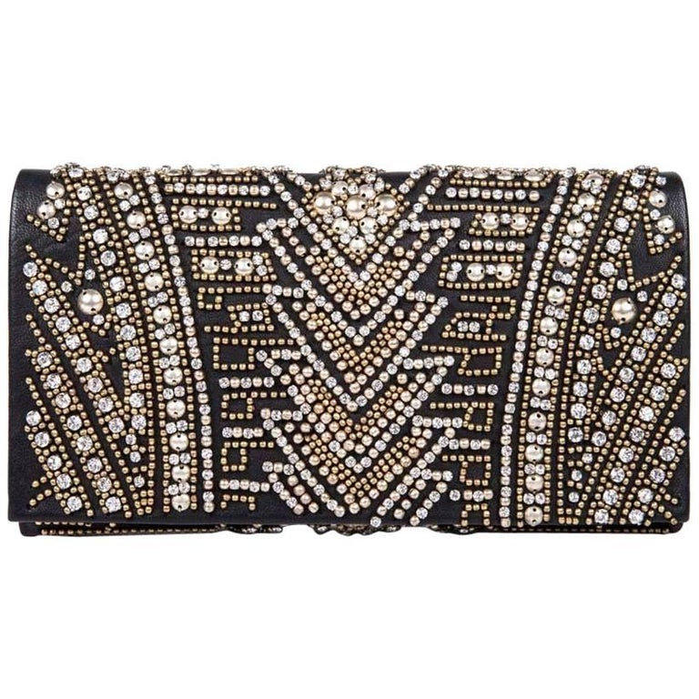 BALMAIN Clutch in Crumpled Leather, Studded in Golden Color and Rhinestones 1
