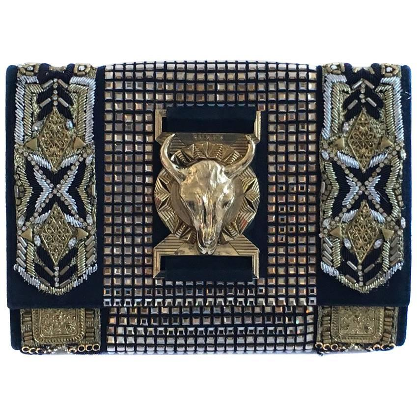 Balmain Evening Clutch Embroidered With Gold Thread CStfrqS