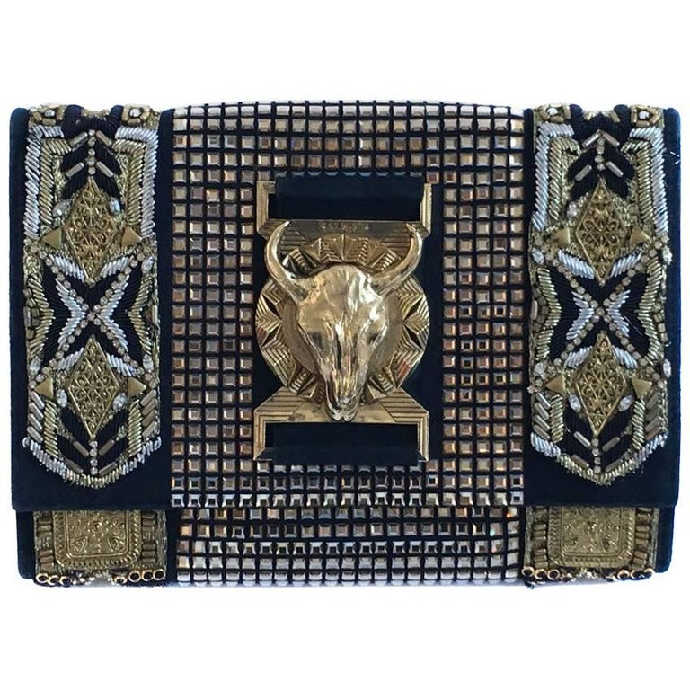 BALMAIN Evening Clutch Embroidered with Gold Thread