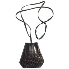 HERMES Key Ring Clochette 'Le Touquet' in Brown Crocodile Leather