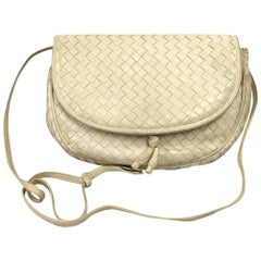 1980s Bottega Veneta White Leather Crossbody Bag