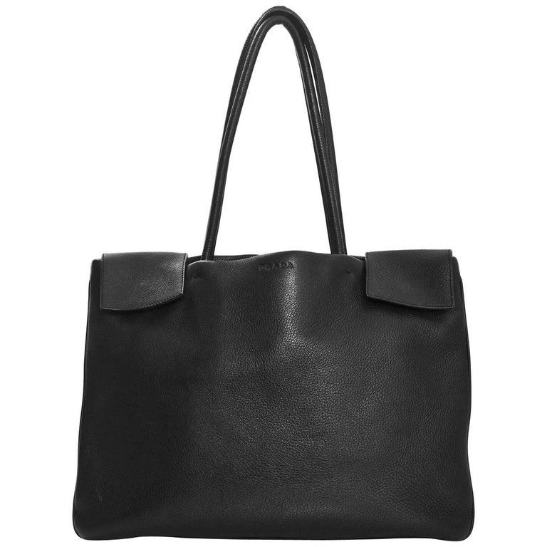 Prada Black Leather Tote Bag For Sale