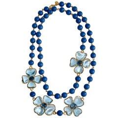 Francoise Montague Blue Pate de Verre Glass Amalfi Necklace
