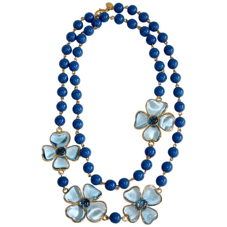 Francoise Montague Blue Pate de Verre Glass Amalfi Necklace For Sale