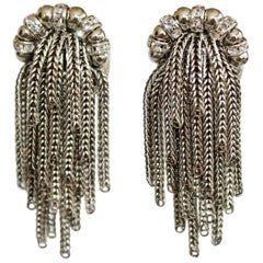 Francoise Montague Park Avenue Rhodium Tassel Clip Earrings