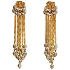 Francoise Montague Gold Tassel Clip Earrings with Glass Pearls and Crystals