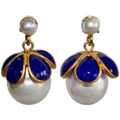 Francoise Montague Drop Pierced Glass Pearl and Lapis Pate de Verre Earrings