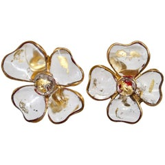 Francoise Montague Clear and Gold Leaf Amalfi Clover Clip Earrings