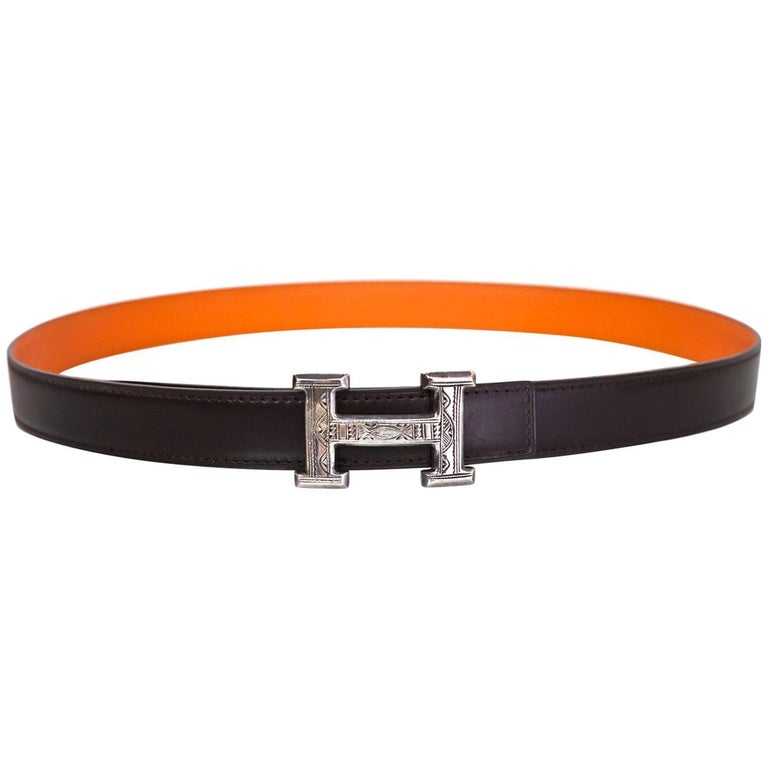 Hermes Brown & Orange Sterling Engraved H Touareg 24mm Belt Kit sz 85 For Sale