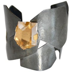 Herve van der Straeten Gunmetal and Rock Crystal Cuff