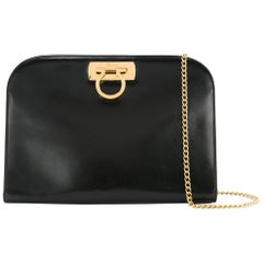 Salvatore Ferragamo Black Leather Envelope 2 in 1 Clutch Flap Shoulder Bag