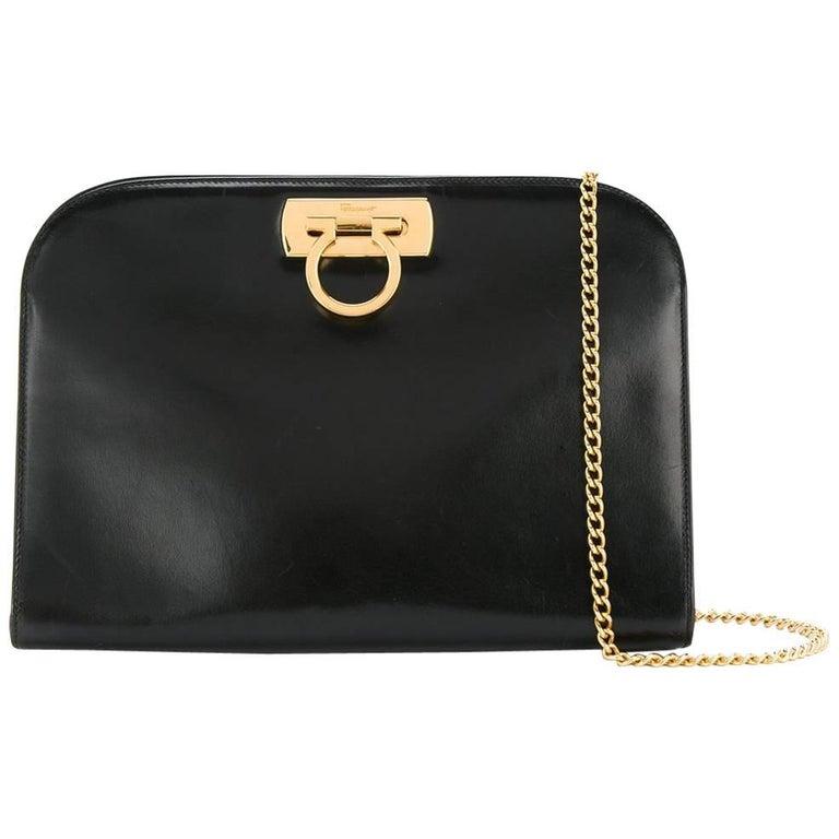 Salvatore Ferragamo Black Leather Envelope 2 in 1 Clutch Flap Shoulder Bag For Sale
