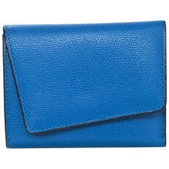 Valextra Blue Asymmetrical Grained Leather Wallet NIB rt. $795