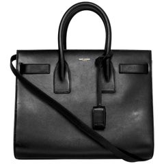 8/9 Saint Laurent Black Calfskin Small Sac De Jour Bag