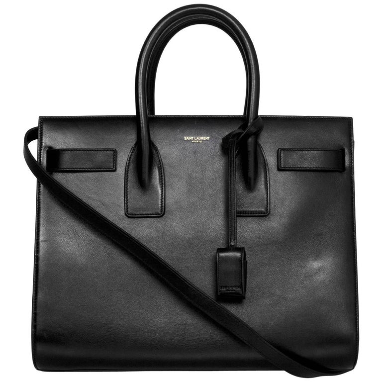 8/9 Saint Laurent Black Calfskin Small Sac De Jour Bag 1
