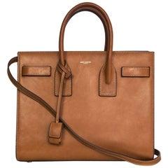 Saint Laurent Tan Smooth Leather Small Sac De Jour Bag w/ Strap