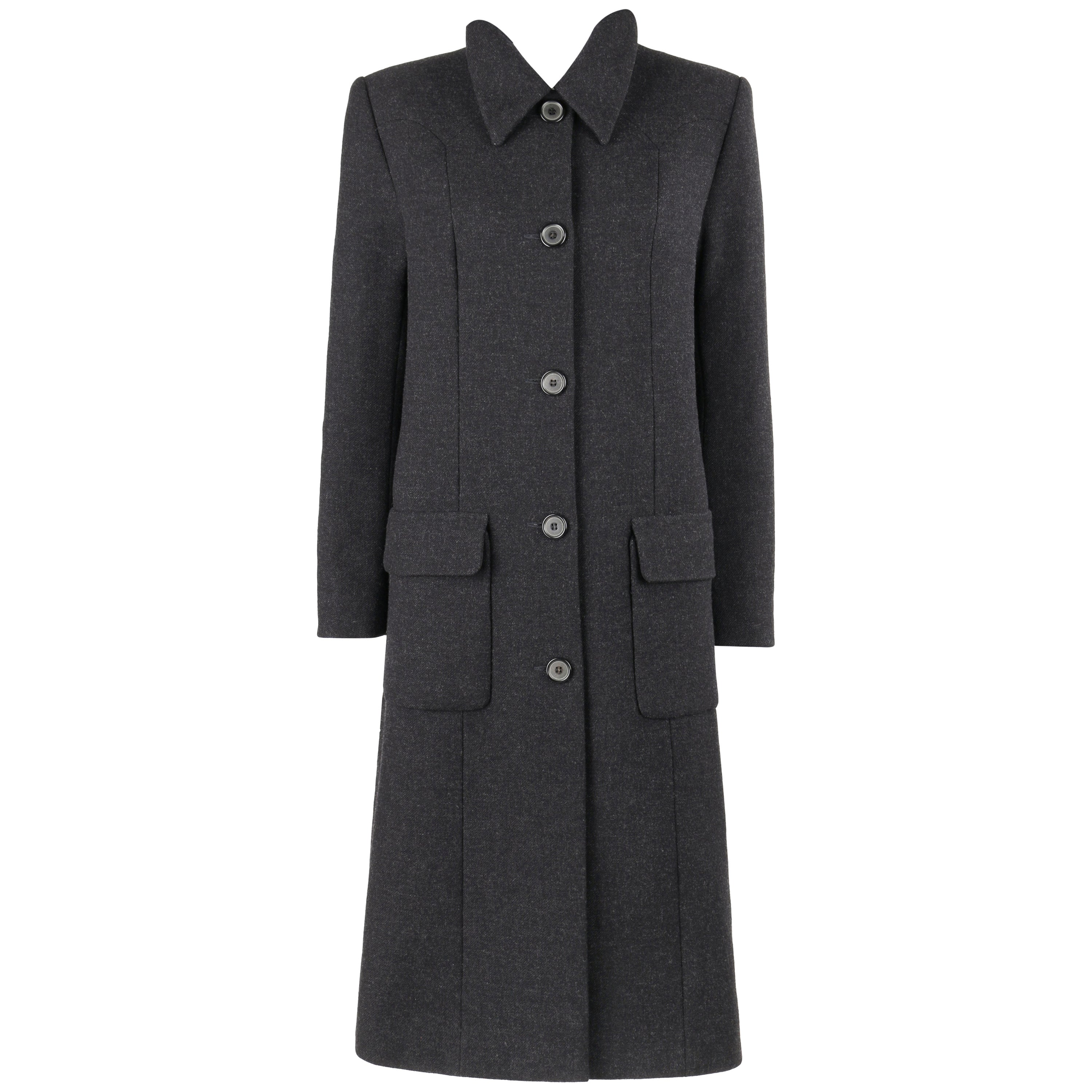 GIVENCHY Couture A/W 1998 ALEXANDER McQUEEN Charcoal Gray Wool Coat Overcoat