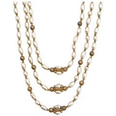 Miriam Haskell Goldtone and Faux Pearl Necklace