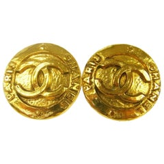 Chanel Vintage Gold Charm Chanel Paris Evening Stud Earrings
