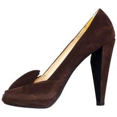 Prada Brown Suede Square Peep-Toe Pumps sz 37 w/2 DB