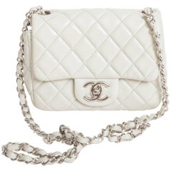 Chanel Mini Quilted Classic Single Flap in Celadon Green with Silver Hardware