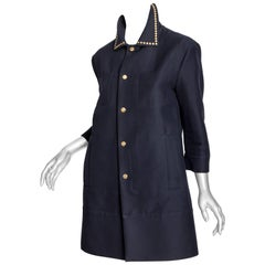 Marni Navy Coat with Studded Collar - 38