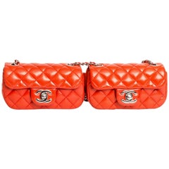 Chanel Tomato Red Quilted Double Mini Single Flap Crossbody with Silver Hardware