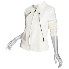 Maison Margiela Cream Knit Moto Jacket - 44