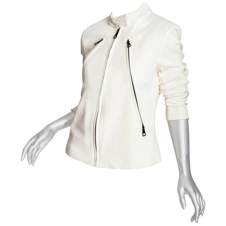Maison Margiela Cream Knit Moto Jacket - 44