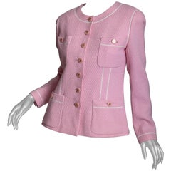 Chanel Jacket in Pink with Chanel Logo Buttons - 42