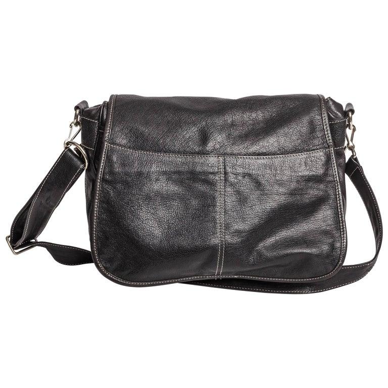 Prada Crossbody Saddle Bag in Black Pebbled Leather