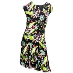 Prada Green and Black Floral Print Dress - Size 44
