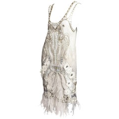 Emanuel Ungaro Beaded Cocktail Dress with Ostrich Feather Trim - 44