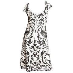 Naeem Khan Black and White Embellished Cocktail Dress - Size 12