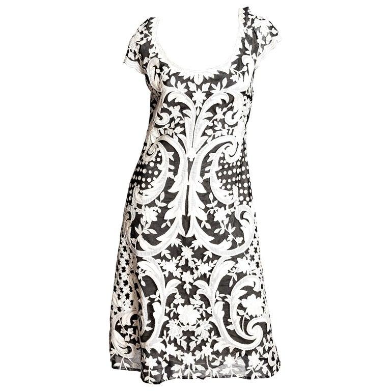 Naeem Khan Black and White Embellished Cocktail Dress - Size 12 at ...