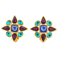 YVES SAINT LAURENT c.1980's YSL Gold Multicolor Gripoix Glass Clip On Earrings