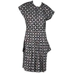Grey & Cranberry Balenciaga Printed Dress