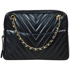 VINTAGE Chanel Black Lambskin Leather Chevron Quilted Shoulder Bag