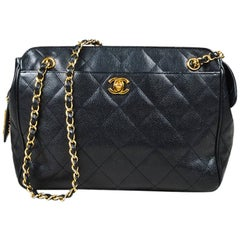 Vintage Chanel Black Caviar Leather Quilted 'CC' Turnlock Accent Bag