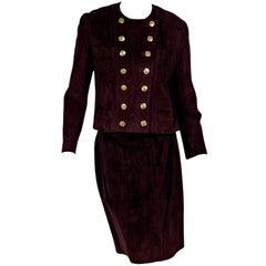 Burgundy Chanel Suede Skirt Set