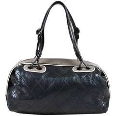 """Chanel Black Quilted Leather Gray Trim """"Country Club Bowler"""" Bag"""